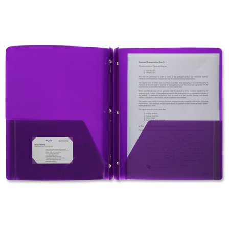 X Style Prongs (Business Source 3-Hole Punched Poly Portfolios - Letter - 8 1/2