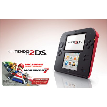 Nintendo 2Ds With Mario Kart 7 Game  Crimson Red