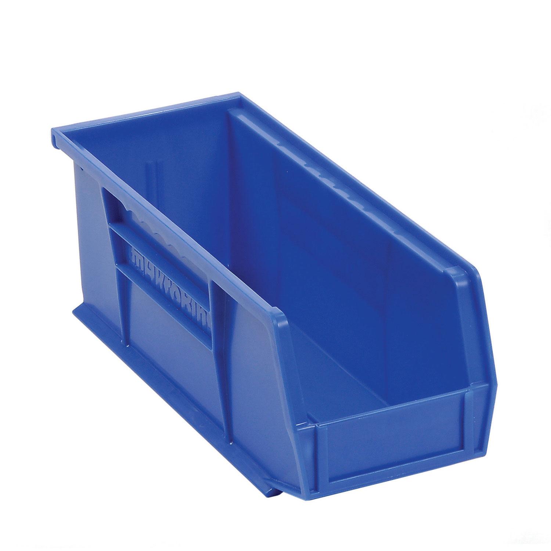 """Akro-Mils AkroBin® Plastic Stacking Bin 30224 - 4-1/8""""W x 10-7/8""""D x 4""""H, Blue, Lot of 12"""