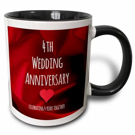 3dRose 4th Wedding Anniversary gift - Silk celebrating 4 years together fourth anniversaries four yrs red - Two Tone Black Mug,