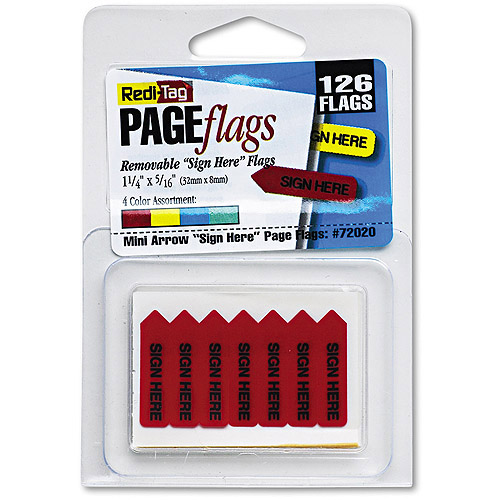 "Redi-Tag Mini Arrow Page Flags, ""Sign Here"", 4 Colors, 126 Flags"