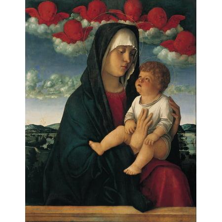 Red Cherubs - Madonna Of The Red Cherubs Canvas Art -  (24 x 36)