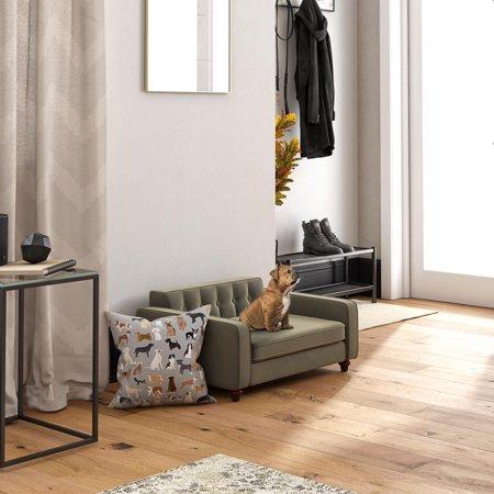Ollie & Hutch Pin Tufted Pet Sofa, Small/Medium Bed, Gray Velvet ()