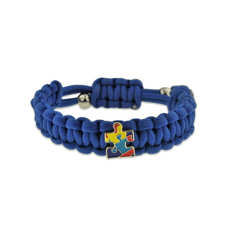 Autism Awareness Paracord Adjustable Survival Bracelet with Puzzle Piece Charm - Autism Bracelet