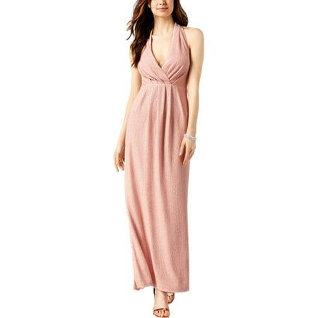 Betsy & Adam Womens Halter Pleated Evening Dress