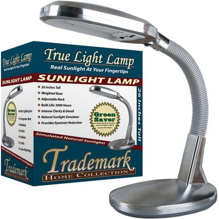 Natural Sunlight Desk Lamp, Great For Reading and Crafting, Adjustable Gooseneck, Home and Office Lamp by Lavish Home, Silver