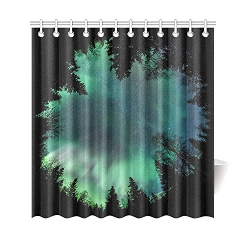 GCKG Northern Lights Shower Curtain Forest Starry Night Polyester