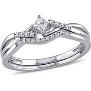miabella 15 carat tw princess and round cut diamond sterling silver cross - Womens Wedding Ring Sets