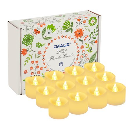 LED Tealight Candles Battery Operated Flameless smokeless 12 PCS/set with Decorative Fake Rose Petals for Tealight votive Holders & Lantern warm white - Flameless Tealight Candles