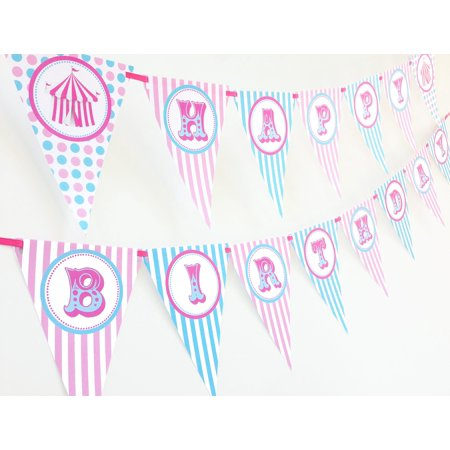 Circus AP Carnival Happy Birthday Banner Pennant - Carnival Themed Birthday