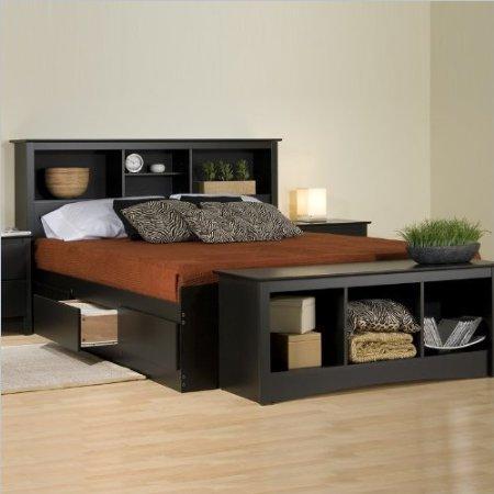 Prepac Sonoma King Bookcase Platform Storage Bed in Black - BBK-8400-KIT