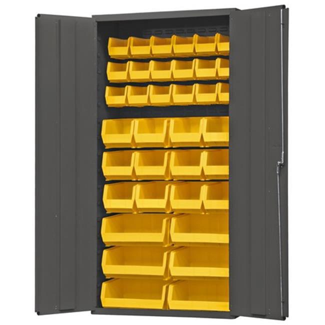 14 Gauge Flush Door Style Lockable Cabinet with 36 Yellow Hook on Bins, Gray - 36 in.