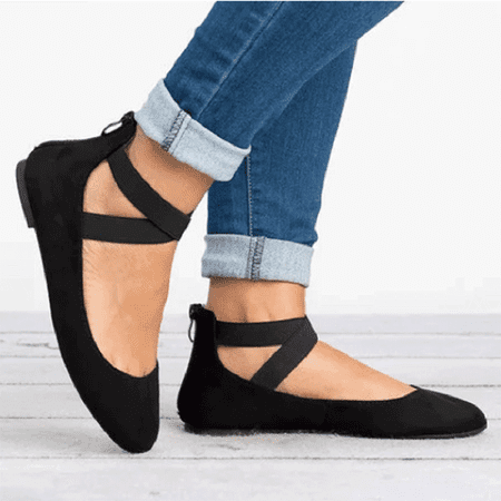 de794a0abb8 Anthony - Women s Classic Ballerina Flats Elastic Crossing Ankle Straps  Ballet Flat Yoga Flat Shoes Slip on Loafers Black - Walmart.com