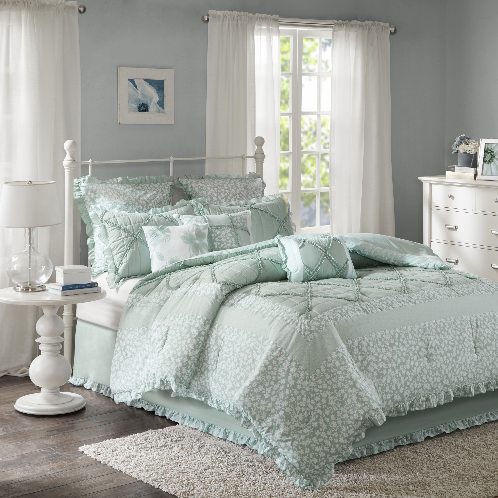 Home Essence Gretchen 9 Piece Cotton Percale Comforter Bedding Set