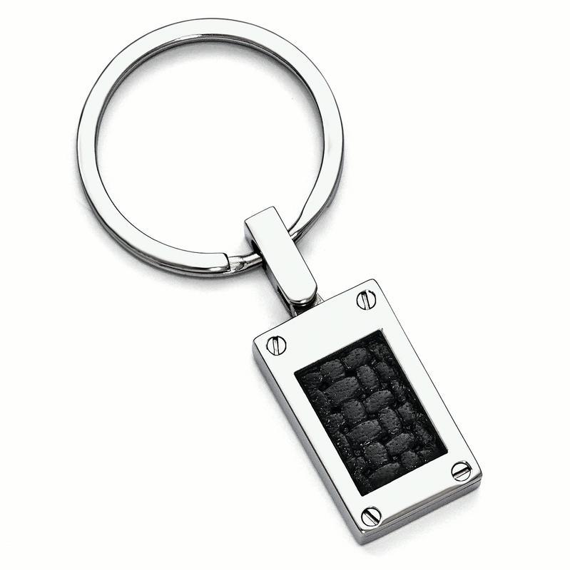 Edward Mirell Titanium & Black Leather Insert Polished Key Ring by