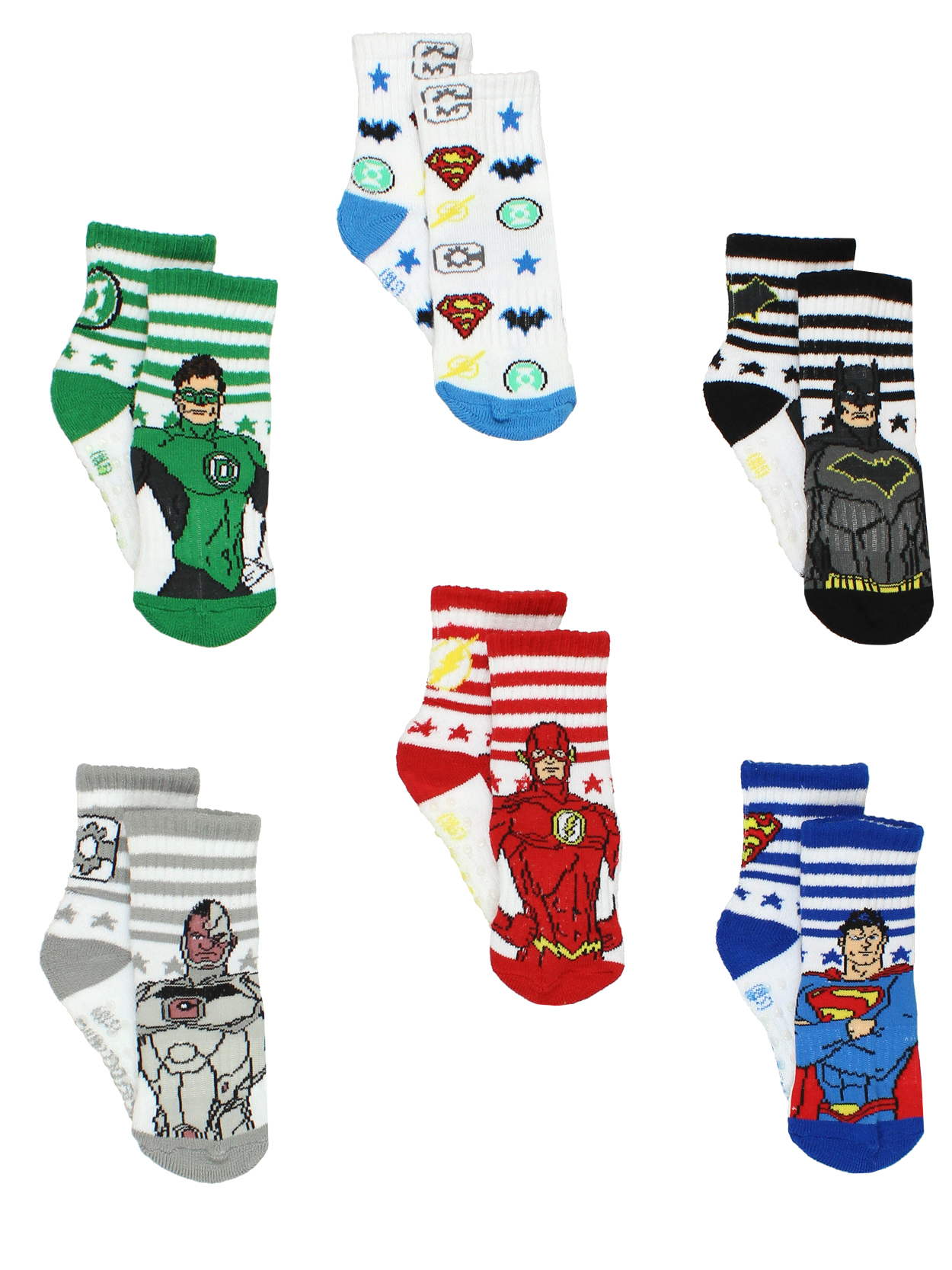 Justice League Toddler Boy's Athletic 6 pack Crew Socks with Grippers JL1554
