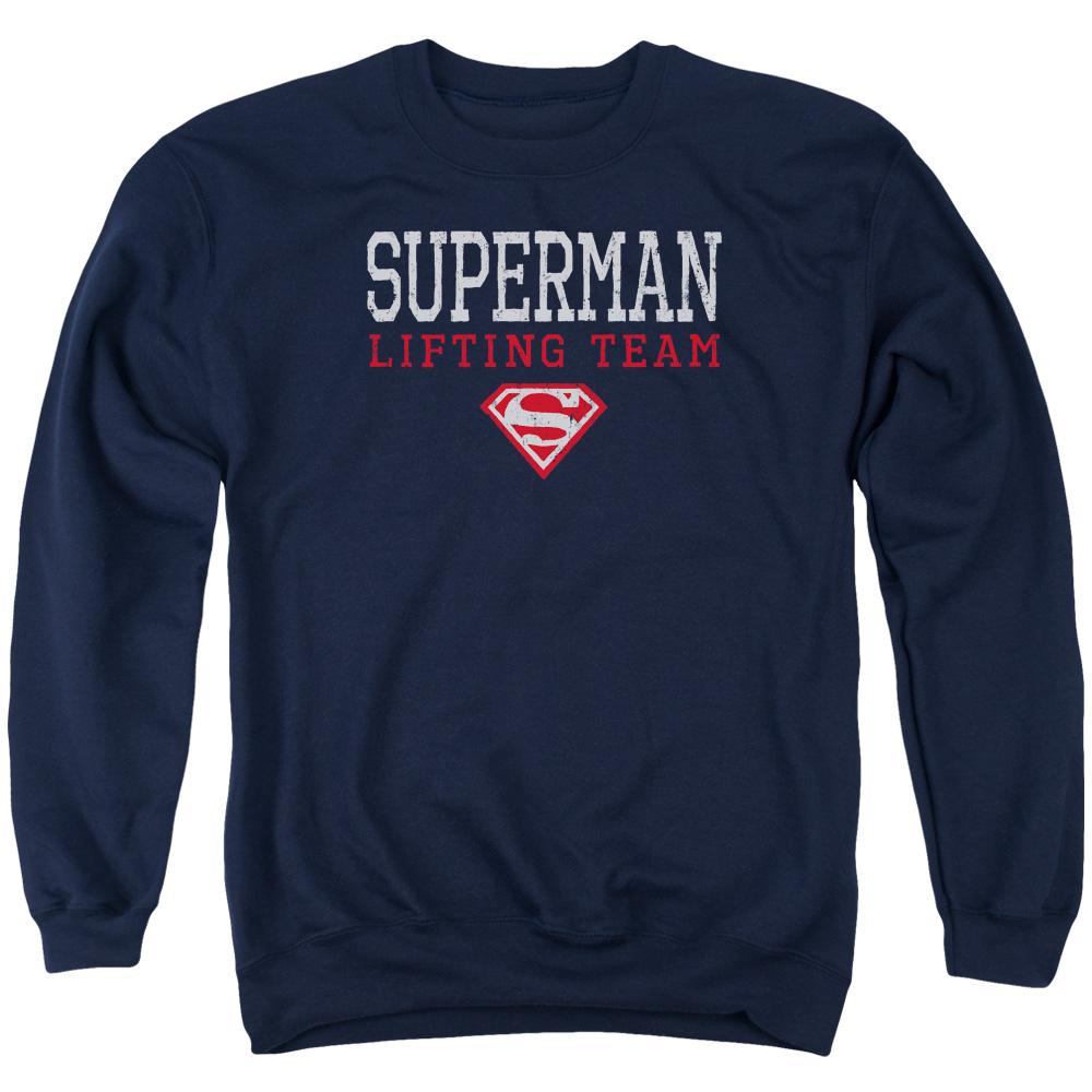 SUPERMAN/LIFTING TEAM-ADULT CREWNECK SWEATSHIRT-NAVY-XL