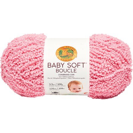 - Lion Brand Baby Soft Boucle Yarn-Candy Pink