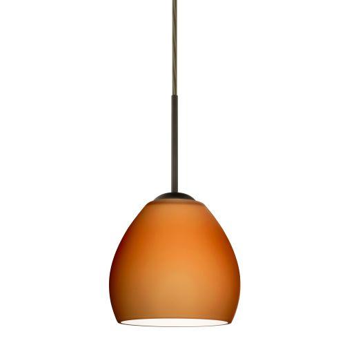 Besa Lighting Bolla Bronze One-Light Mini Pendant with Amber Matte Glass