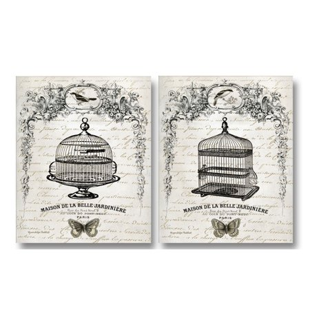 Retro French Inspired Botanical Birdcages Maison De La Belle Jardiniere; Two 11x14in Prints