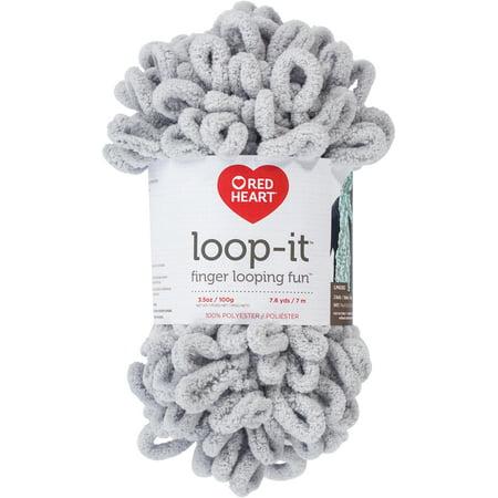 Red Heart Loop-It Gray Yarn, 7.6 (Loop Wale Yarn)