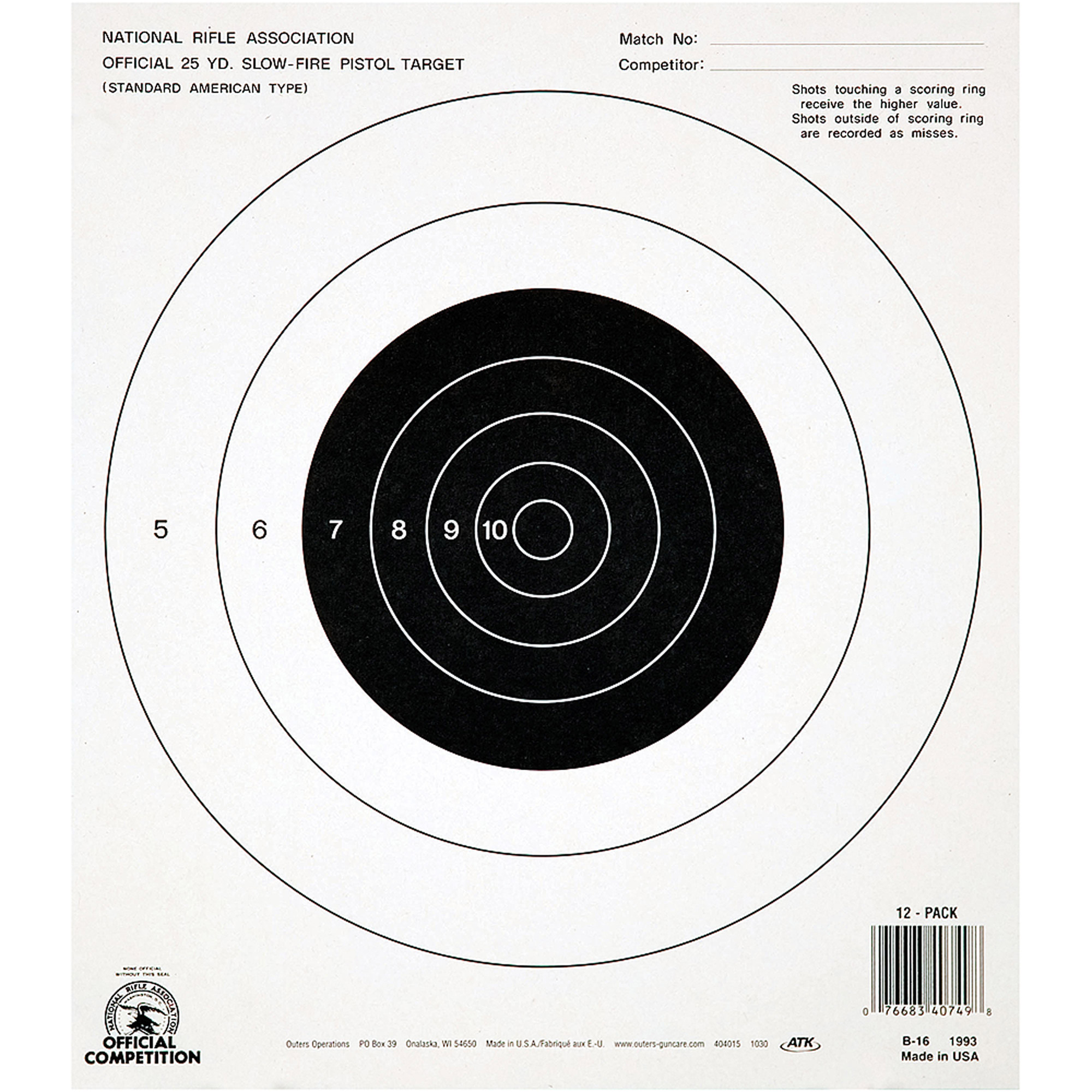 Champion Traps and Targets NRA B16 Target, 25 Yard Pistol, Slow Fire, 100pk
