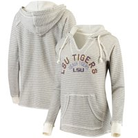 LSU Tigers Blue 84 Women's Striped French Terry V-Neck Pullover Hoodie - Cream