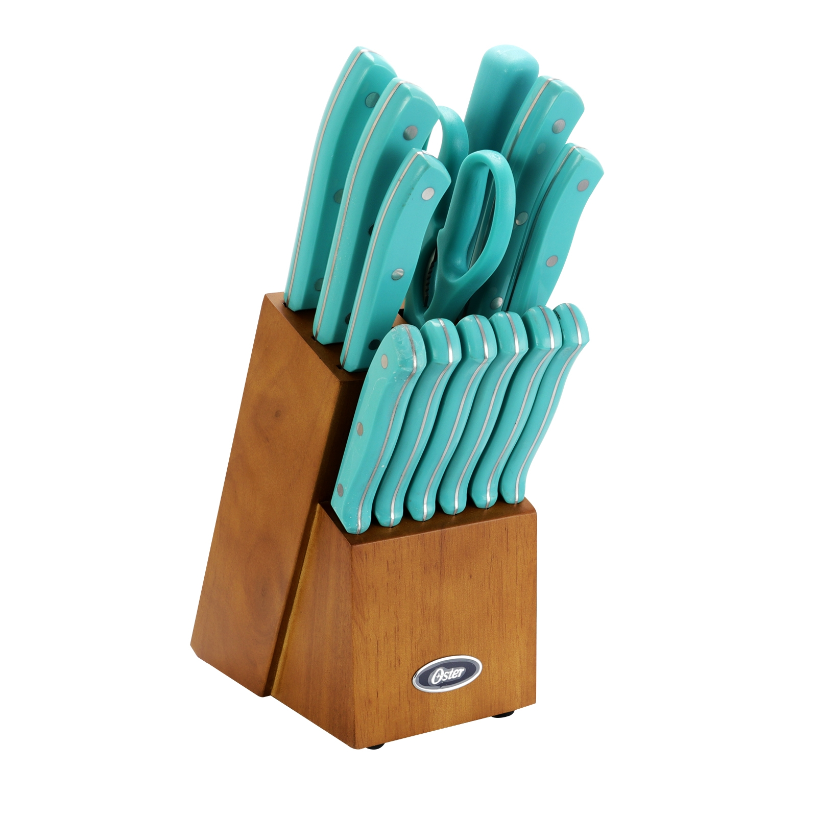 Oster Evansville 14 piece Stainless Steel Cutlery Set with Turquoise Plastic Handle and Black Rubber Wood Block