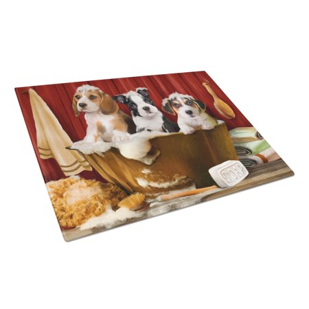Jack Russell Beagle - Caroline's Treasures Beagle, Boston Terrier and Jack Russel in the Tub Glass Cutting Board Large
