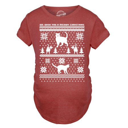 Maternity 8 Bit Cat Butt Ugly Christmas Sweater Funny Expecting Pregnancy T Shirt - Maternity Christmas Sweaters