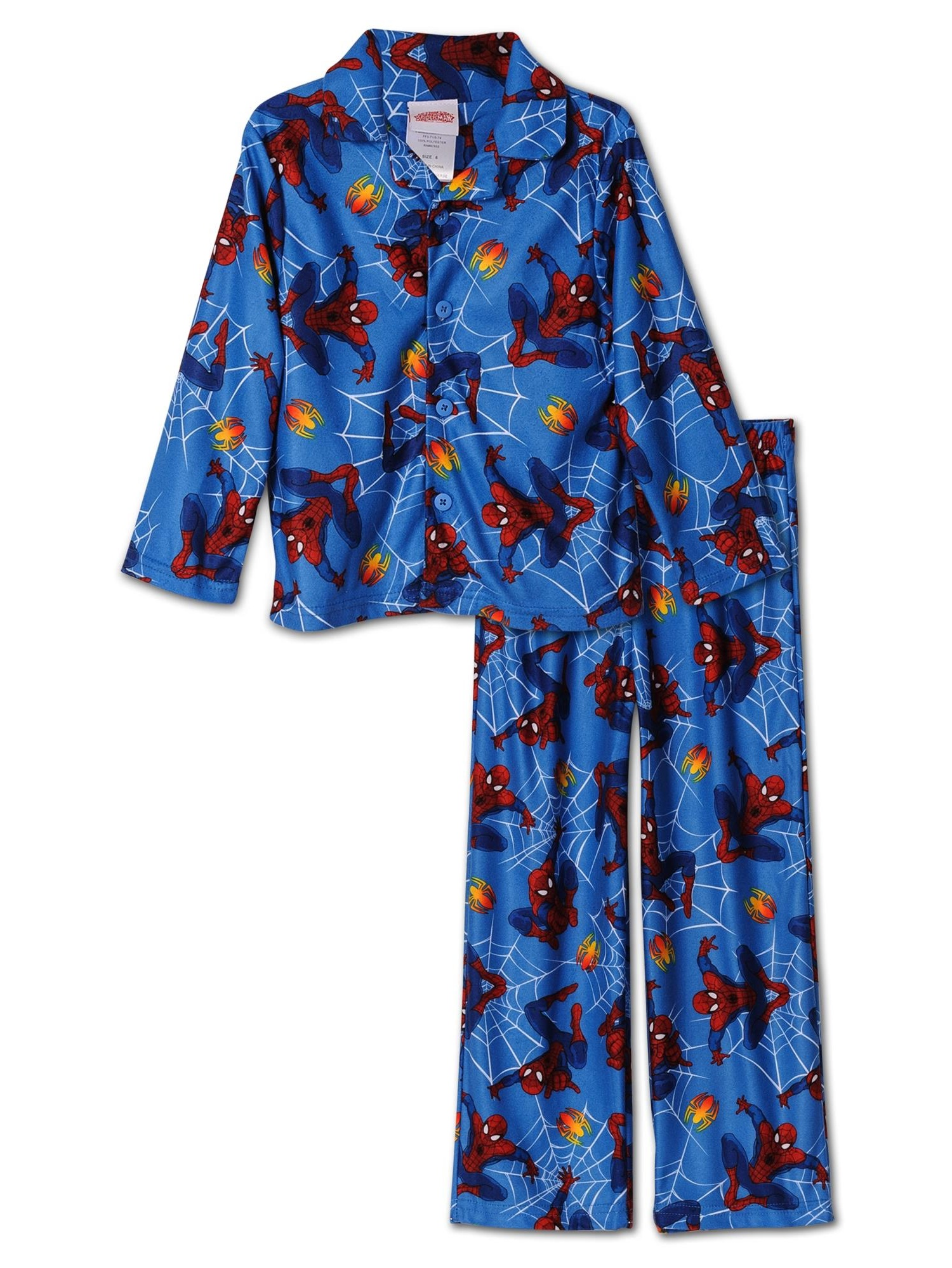 Marvel Big Boys' Two-Piece Spider-Man Print Button-Front Shirt with Pant Pajama Set, Blue, Size: 10