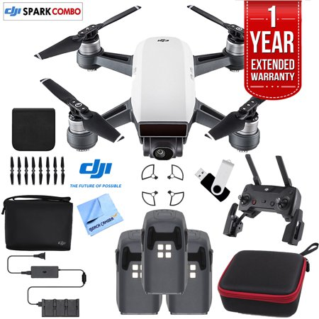 DJI SPARK Fly More Drone Comboe (Alpine White) Essentials Bundle With Three Batteries, 16GB Flash Drive, Custom Hard Case, Cleaning Cloth And One Year Warranty Extension