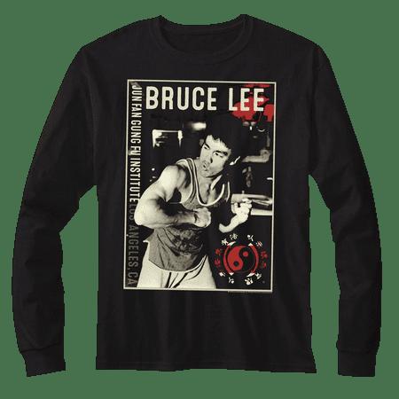 Bruce Lee Jun Fan Gung Fu Institute Black Adult Long Sleeve T-Shirt (Jun Fan Gung Fu Institute T Shirt)