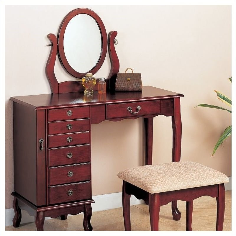 Bowery Hill Eight Drawer Jewelry and Makeup Vanity Table Set with Swivel Mirror in Cherry Finish