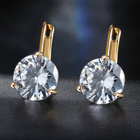 Cbr Earrings (ON SALE - Martini Set 6.8 Carat Zirconia Solitaire Earrings Yellow Gold)