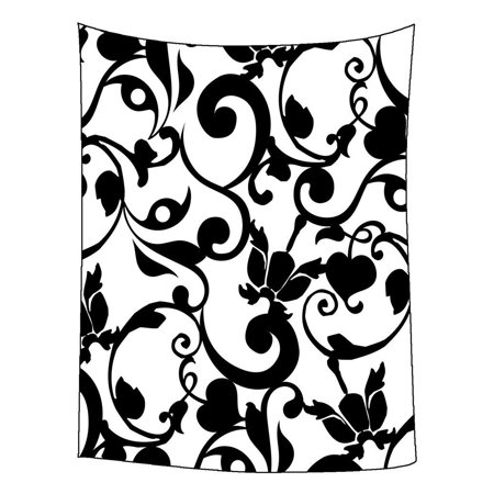 GCKG Black and White Damask Pattern Classic Vintage French Floral Swirls Bedroom Living Room Art Wall Hanging Tapestry Size 80x60 inches ()