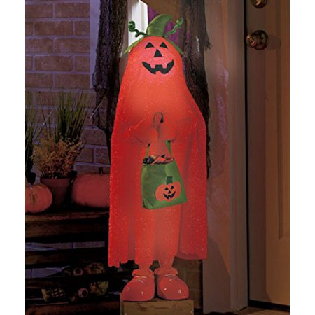 Lighted Color Changing Halloween Trick or Treater Pumpkin Kid Jack O Lantern Candy Bag Witch Hat Greeters Haunted House Decor By KNL Store