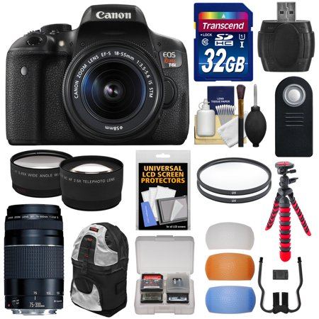Canon EOS Rebel T6i Wi-Fi Digital SLR Camera & 18-55mm IS STM & 75-300mm III Lens with 32GB Card + Backpack + Tripod + Filters + Tele/Wide Lens Kit