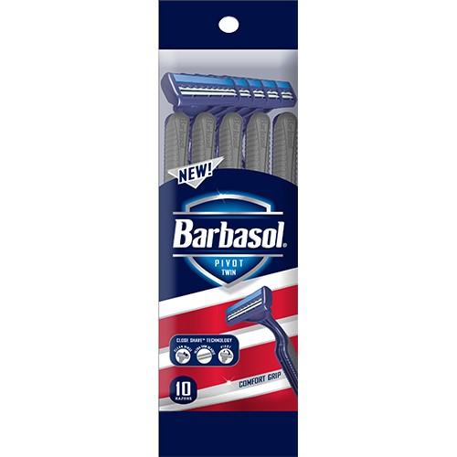 (2 pack) Barbasol Pivot Twin Premium Disposable Razor, 10 Count