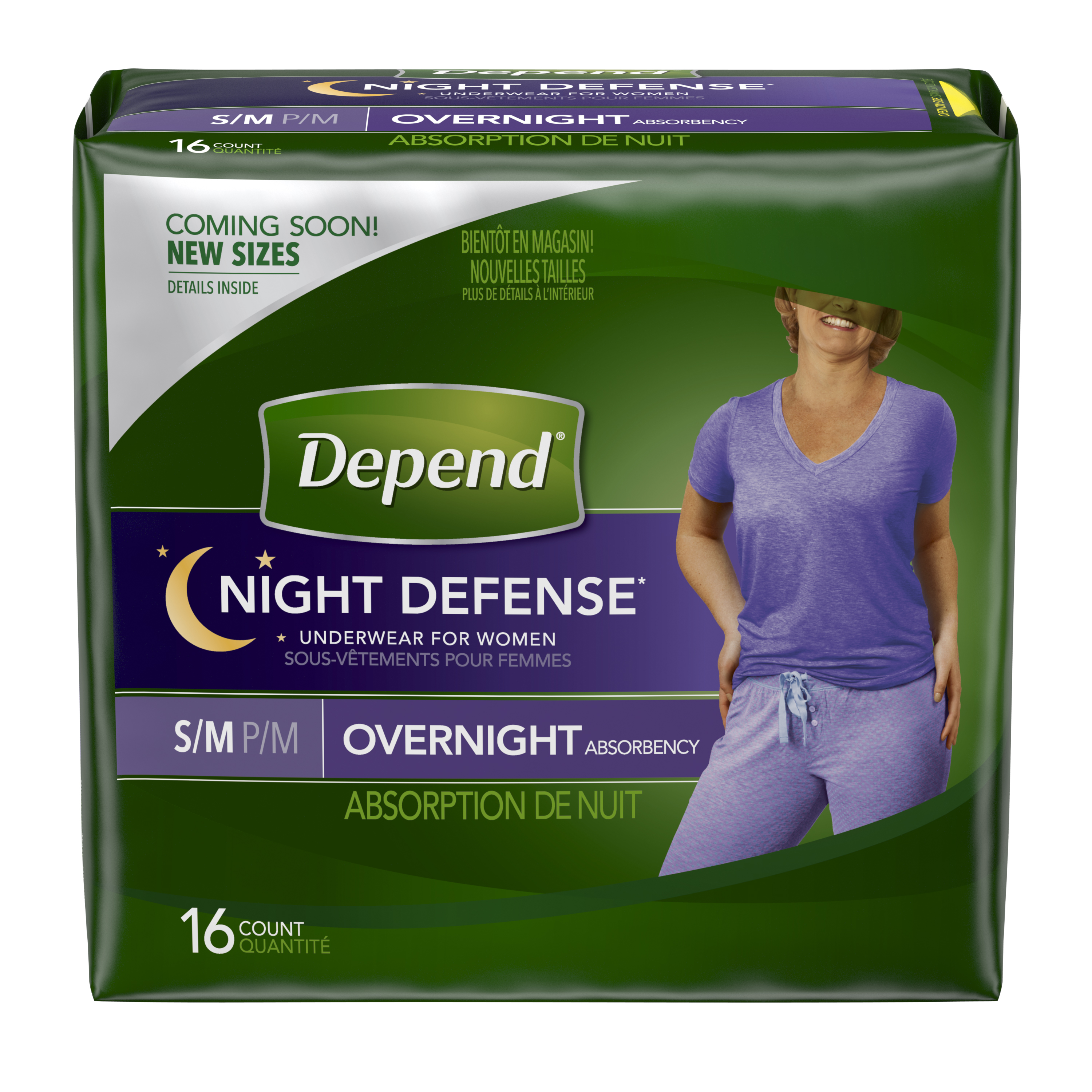 Depend Night Defense Incontinence Overnight Underwear for Women, S/M, 16 Count