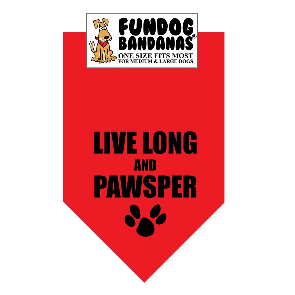 Fun Dog Bandana -Live Long & Pawsper - One Size Fits Most for Medium to Large Dogs, red pet scarf