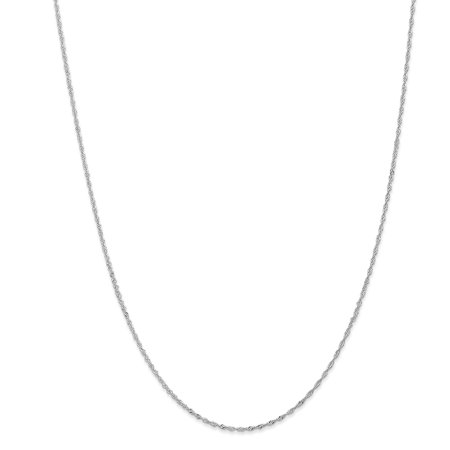 14K White Gold 1.00MM Singapore Link Chain Necklace,