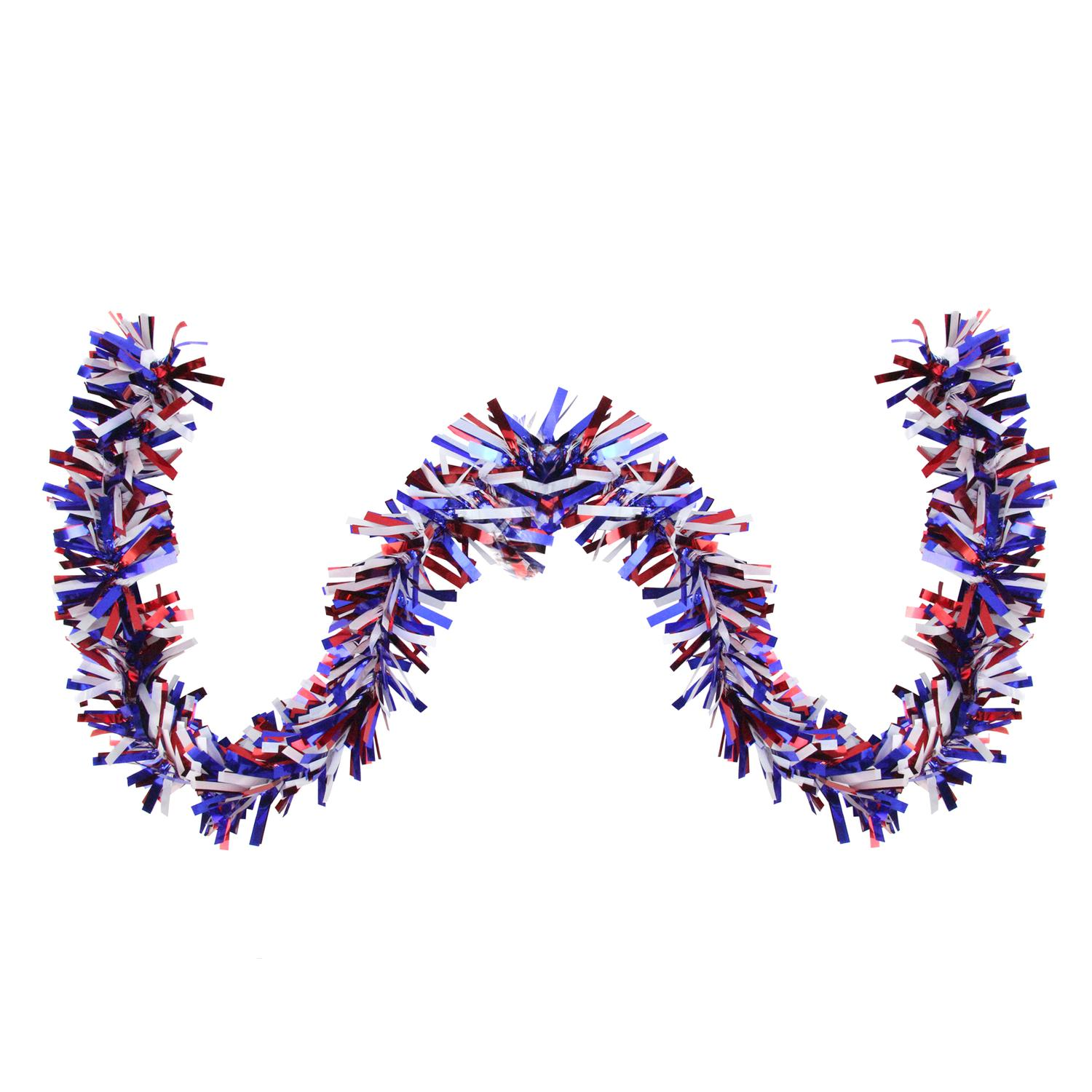 25' Red, White and Blue Wide Cut Tinsel 4th of the July Garland - Unlit