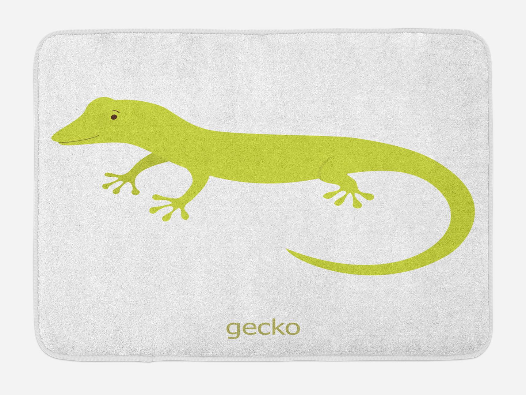 Reptile Bath Mat, Cute Australian Lizard Illustration Smiling Kids Mascot Safari Theme... by 3decor llc
