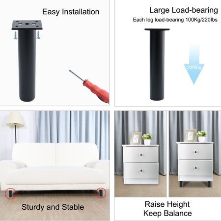 "7"" Furniture Legs Aluminium Alloy Sofa Replacement Height Adjuster Balck 4pcs - image 6 de 7"