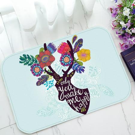 Flower Deer (YKCG Flower Floral Deer Head Christmas Gift Doormat Indoor/Outdoor/Bathroom Doormat 23.6x15.7)
