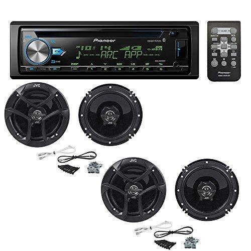"Pioneer DEH-X6900BT Single DIN Bluetooth In-Dash CD/AM/FM Car Stereo with (2 PAIRS) JVC CS-J620 300W 6-1/2"" CS Series 2-Way Coaxial Car Speakers"