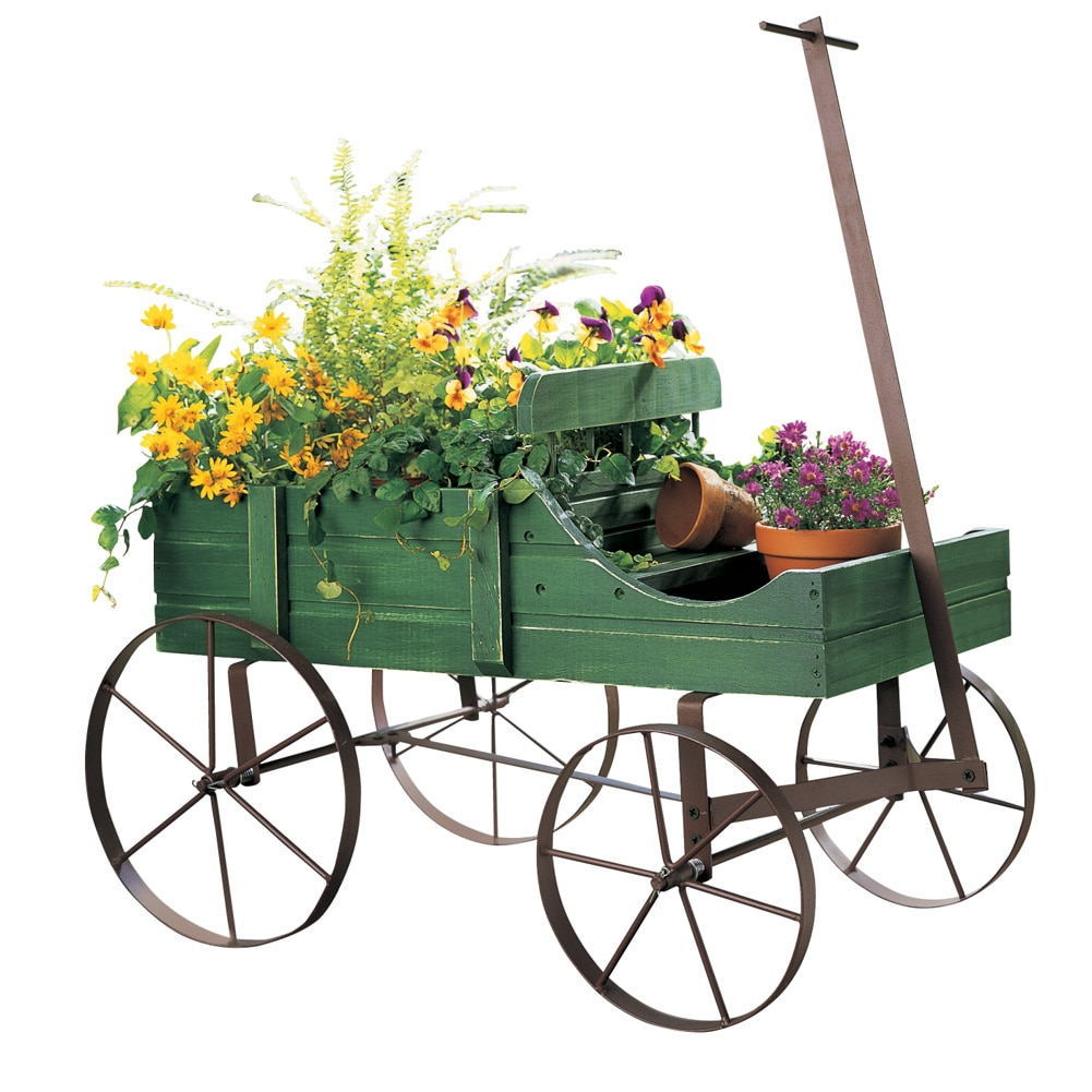 Amish Wagon Decorative Indoor   Outdoor Garden Backyard Planter, Red by Collections Etc