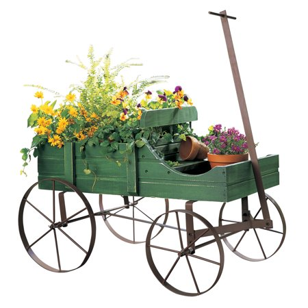 Collections Etc Amish Wagon Indoor/Outdoor Decorative Planter - Green