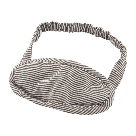 Cotton Blends Stripe Print Elastic Sleeping Eyes Shade Cover Mask Coffee